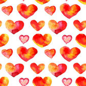 Big Heart seamless background from shapes watercolor. Watercolor ornament. Seamless background — Stock Photo