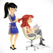 Stock Vector: Barber combing cute client girl
