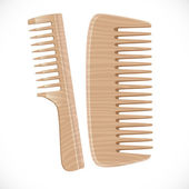 Wooden comb isolated on white background — Stock Vector