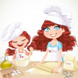 Cute curly hair mom and daughterl baking cookies isolated on whi — Stock Vector