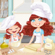 Cute curly hair mom and daughterl baking cookies — Stock Vector