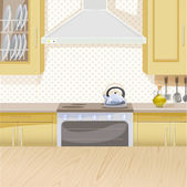 Beige interior of kitchen with stove and cupboards — Stock Vector