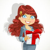 Cute brown haired business lady gives a gift — Stock Vector
