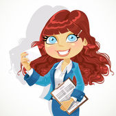 Cute curl hair business woman with documents showing business ca — Stock Vector