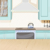 Interior of kitchen in blue color with stove and cupboards — Stock Vector