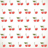 Decorative seamless ornament of cherries on white background — Stock Vector