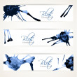 Stock Vector: Banners with abstract blue ink blots 3