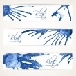 Stock Vector: Banners with abstract blue ink blots 2