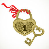 Heart shaped lock and key to it isolated on white background — Stock Vector