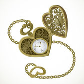 Pocket watch in the form of heart — Vecteur