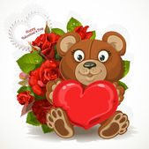 Teddy bear holding a heart with a bouquet of flowers and valenti — 图库矢量图片
