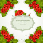 Decorative background with red roses for your text — Stock Vector