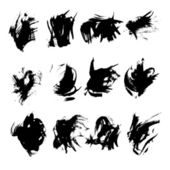 Big set of black strokes drawn thick paint 1 — Stock Vector