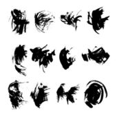 Big set of black strokes drawn thick paint 2 — Stock Vector