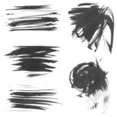 Realistic vector black drawn thick paint strokes — Stock Vector