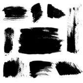 Set of abstract brush strokes on paper. Vector — Stock Vector
