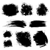 Set of different strokes thick paint textured brush on white bac — Stock Vector