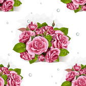 Seamless pattern of a romantic bouquet of pink roses — Stock Vector