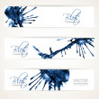 Banners with abstract blue ink blots — Stock Vector #39730395