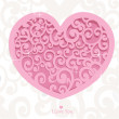 Stock Vector: Pink heart Valentine card