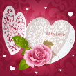 Stock Vector: Valentine card with pink rose