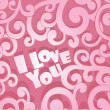 Stock Vector: Pink Valentine card I Love You