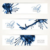 Banners with abstract blue ink blots — Stock Vector