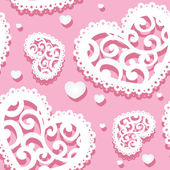 Seamless pattern of appliques of hearts Valentine — Stok Vektör