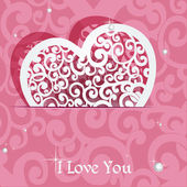 Pink heart applique Valentine card — Stock Vector