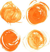 Orange circles drawn thick paints — Stock Vector
