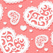 Seamless pattern of appliques of hearts Valentine — 图库矢量图片