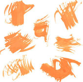 Set texture orange paint smears — Stock Vector