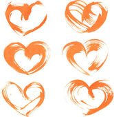 Heart drawn thick orange paint — Stock Vector