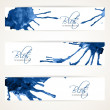 Banners with abstract blue ink blots — Stock Vector #39765699