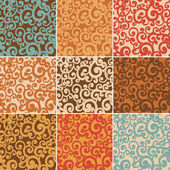 Set of retro seamless backgrounds with curls — Stock Vector