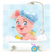 Pretty pink little piggy taking a bath with foam — Stock Vector