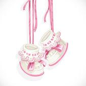 Baby pink booties — Stock Vector