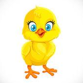 Cute yellow cartoon baby chicken — Stock Vector