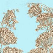 Flores silvestres - fondo vintage paraguas — Vector de stock