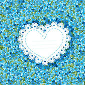 Spring forget-me-not card in heart shape — Stockvektor