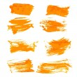 Set orange gouashe realistic thick paint strokes — Stockvector  #42460973