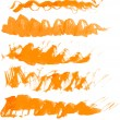 Vector wavy texture orange paint strokes drawn manually — Stock Vector #42461339