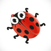Cute baby ladybug isolated on white background — Stock Vector
