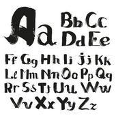 Black handwritten by a textured  brush alphabet — Stock Vector