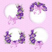Rosa etiquetas con azafrán púrpura — Vector de stock