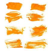 Impostare gouashe arancione tratti realistici vernice spessa — Vettoriale Stock