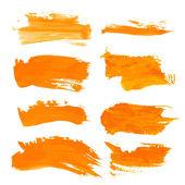 Set orange gouashe realistic thick paint strokes — Stock Vector