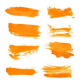 Set orange gouashe realistic vector thick paint strokes — Stock Vector