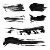 Set realistic vector black thick paint strokes 1 — Stock Vector