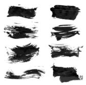 Set realistic vector black thick paint strokes — Stock Vector